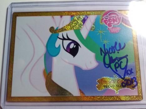 Series-1 gold foil Princess Celestia signed by Nicole Oliver